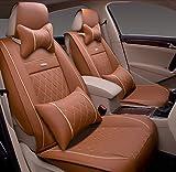 (ファーストクラス)FirstClass 四季用 腰痛みに対策 カーシートカバー 前部 フロント シートカバー 車シート保護 スポンジ&レザー製 通気性に富む 快適 スムーズ 5シート車汎用 ボーラ ジェッタ オクティバ 6枚 オレンジ
