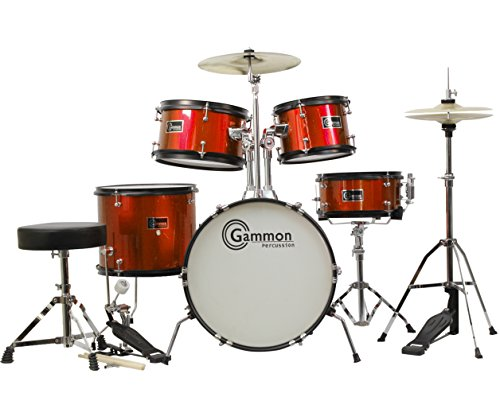 junior-5-piece-red-drum-set-with-cymbals-sticks-stands-stool-and-hardware-child-kid-size