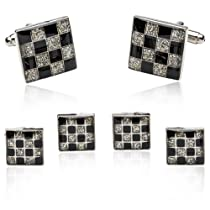 Diamond Dust Checkerboard Cufflinks and Studs