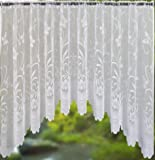 BUTTERFLY / FLORAL JARDINIERE WHITE NET CURTAIN 150 X 60 INCHES (381 CMS X 152 CMS) APPROX.