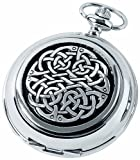 Woodford Quartz Pocket Watch, 1873/Q, Men's Chrome-Finished Never Ending Knot Pattern with Chain (Suitable for Engraving)