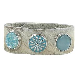 Quiges, Eligo Jewellery 18mm Snap Button Set White Cow Leather Bracelet 19.5-21.5cm # 58