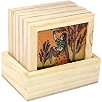Ranvijay Multicolour Rajasthani Painting Set Of 6 Wooden Coasters With Holder (9cm X 9cm X 1cm)