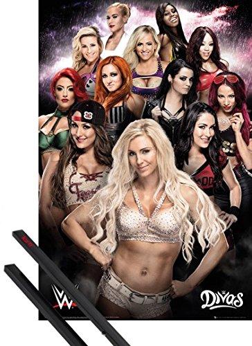 Poster + Sospensione : Wrestling Poster Stampa (91x61 cm) WWE, Divas e Coppia di barre porta poster nere 1art1®