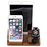 iPad Docking Station, Boieo Natural Walnut Wood Desktop Charging Dock Stand Holder 3-in-1 for Samsung, iPhone, iPad, iWatch & Other Phones Tablets (Wood)