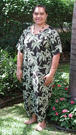 Round Neck Long Dress - Palm Trees Caftan Kaftan Style Hawaiian Aloha Evening Pullover Dress in Black - 3X Plus