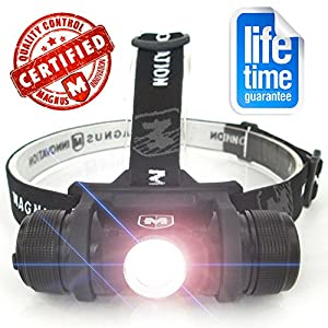 #1 Rechargeable Headlamp! 100% Lifetime Guarantee - 570 Lumen LED High Intensity Headlamp Flashlight - Made for Camping, Running, Hunting, Fishing, Cycling, Reading, Hiking - Rechargeable Li-On Battery & USB Charging Cable Included - Limited Time Offer - Buy Now