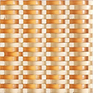 3D WAVE Honey Caramel Stone & Glass Mosaic Tiles For Kitchen Bathroom Backsplash, Shower Walls