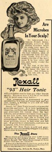 1909 Ad United Drug Co. Rexall 93 Hair Tonic Scalp Care - Original Print Ad