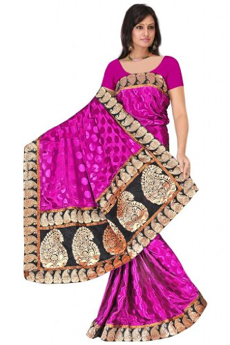Sehgall Sarees Handloom Brocket Border And Pallu Attached With Polka Dot Crape Satin Pink Saree