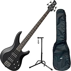 yamaha trbx304 bl trbx 304 black 4 string bass guitar w gig bag and stand musical. Black Bedroom Furniture Sets. Home Design Ideas