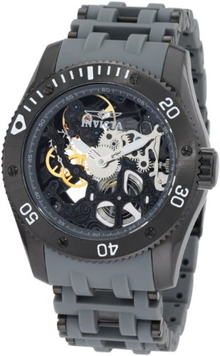 Invicta Men's 1264 Sea Spider Mechanical Skeleton Dial Black Polyurethane Watch