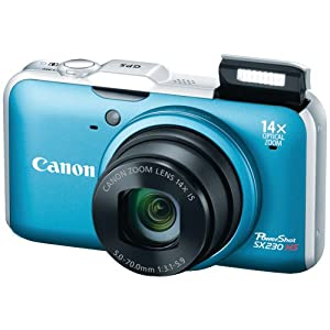 Canon PowerShot SX230 HS 12.1 MP CMOS Digital Camera with 14x Image Stabilized Zoom 28mm Wide-Angle Lens and 1080p Full-HD Video (Blue)