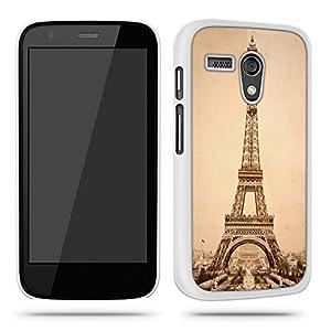 Eiffel Tower France Cool Old Vintage Phone Case Shell for Motorola Moto G - White
