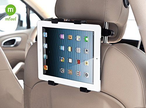 MFEEL Universal Car Back Seat Headrest Mount Holder Table Mount Holder with 360 Degree Adjustable Rotating Travel Kit For Apple iPad 2 / iPad 3 / iPad 4 / iPad Air / iPad Mini / iPad Mini2 / iPad Mini3 / Galaxy Note 10.1 and many more Car Headrest Mount Holder – Black