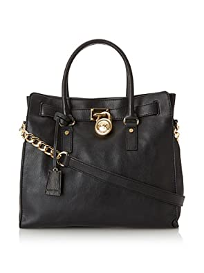 Michael Kors Women's Hamilton North/South Tote With Gold Hardware, Black, One Size