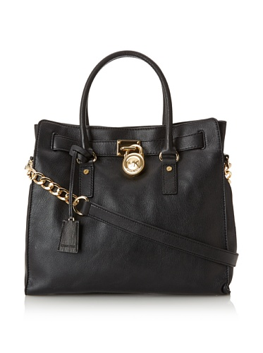 Michael Kors Women'S Hamilton North/South Tote With Gold Hardware, Black, One...