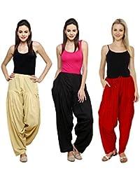 Pistaa Combo Of Womens Solid Cotton Beige , Black And White Full Ethnic Punjabi Patiala Salwar Bottom Pant
