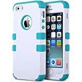 iPhone 5S Case, ULAK 3 in 1 Shield Case for iPhone 5s 5 Heavy Duty Hybrid 3 Layer Rugged Hard Cover Silicone Shell Inside Case (3 in 1 Shield-White+Blue)