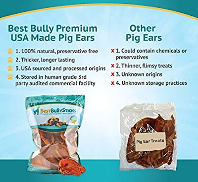 100% Natural USA Whole Pig Ear Dog Treats (20 Pack) Thick-Cut, All Natural, Protein-Packed Dog Treats | Made in the USA, Single Ingredient and Fully Digestible | Hand-Inspected and USDA/FDA Approved