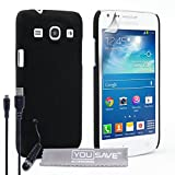 Yousave Accessories Samsung Galaxy Core Plus Case Black Hard Hybrid Cover With Mini Stylus Pen And M