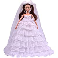 Teenitor Handmade Luxury Deluxe Fashion 8 Layer White Fashion Barbie Wedding Dress With Mantillas For Barbie Doll...