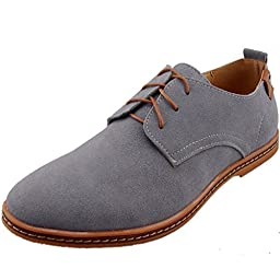 DADAWEN Men\'s Leather Oxford Shoe Grey US Size 12