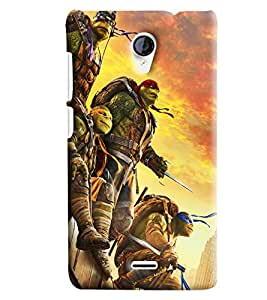 Blue Throat Cartoon Man With Sword Printed Designer Back Cover/Case For Micromax Unite2 (A106)