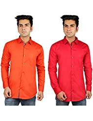 Nimegh Orange, Red Color Cotton Casual Slim Fit Shirt For Men's (Pack Of 2)