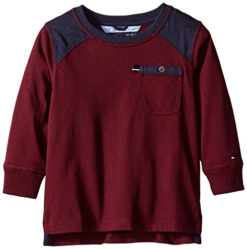 Tommy Hilfiger Little Boys' Long Sleeve Quilted Shoulder Top, Crushed Berry, 3T