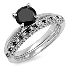 buy 1.50 Carat (Ctw) 10K White Gold Black & White Diamond Bridal Engagement Ring Set 1 1/2 Ct (Size 7)