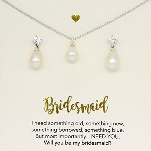 Silver freshwater pearl jewelry set,Bridesmaid gifts personalized, will you be my bridesmaid card, jewelry box, set of 6, set of 5, freshwater pearl, pearl drop necklace, set of 7