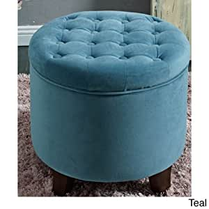 Round tufted storage ottoman large teal for Teal coffee table