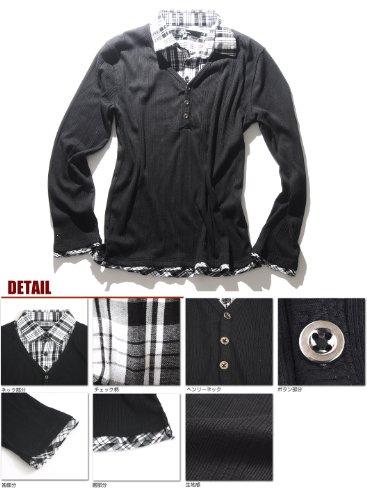 (スペイド) SPADE カットソー 七分袖 長袖 メンズ シャツ Vネック レイヤード インナー【Q754】