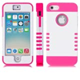 myLife (TM) Hot Pink and White - Titan Shield Series (Neo Hypergrip Flex Gel) 3 Piece Case for iPhone 5/5S (5G... by myLife Brand Products