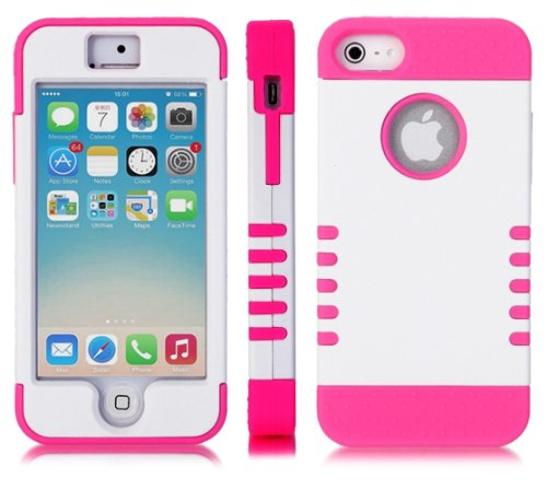 Mylife (Tm) Hot Pink And White - Titan Shield Series (Neo Hypergrip Flex Gel) 3 Piece Case For Iphone 5/5S (5G) 5Th Generation Itouch Smartphone By Apple (External 2 Piece Fitted On Hard Rubberized Plates + Internal Soft Silicone Easy Grip Bumper Gel + Li