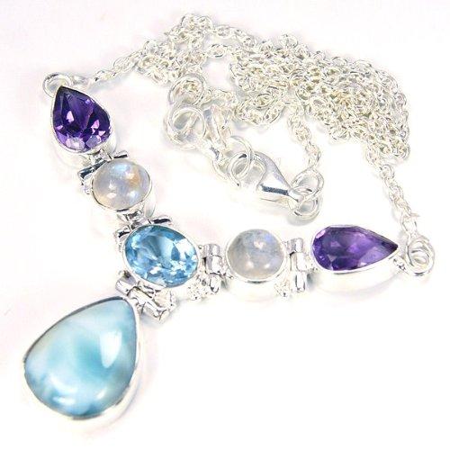 Rare Larimar Multigem & Sterling Silver Necklace