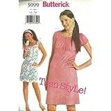 Juniors Dress (Butterick Pattern 3099, Size1/2...7/8) ~ Teen Style