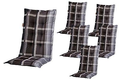 Madison Sesselauflage Polster Wide - grey - Hochlehner - 6er Set von Madison - Gartenmöbel von Du und Dein Garten