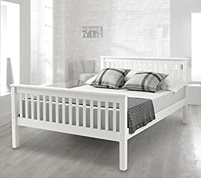 Happy Beds Bed Lisbon Contemporary Lacquered Solid Pine Wood Mattresses Comfort