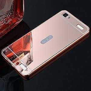 VIVO Y37 Case Cover, Luxury Metal Bumper + Acrylic Mirror Back Cover Case For VIVO Y37 - Rose Gold