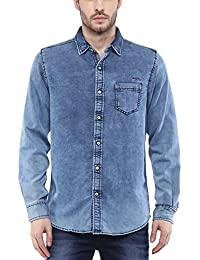 Mufti Mens Blue Slim Fit Mid Rise Casual Shirts