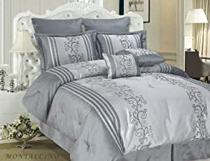 Cathay Home 8-Piece Top of Bed Set King Faux Silk Montecino, Silver/Grey