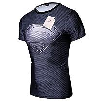 Topway Men's Short Sleeve Crewneck Compression Super Heroes T-shirt Wicking Tee