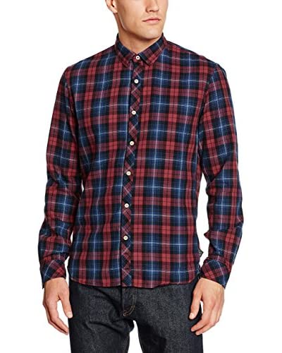 TOM TAILOR Denim Camicia Casual [Rosso/Blu]