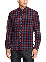 TOM TAILOR Denim Camisa Casual (Rojo / Azul)