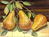 Golden Pears by Theresa Kasun Tile Mural for Kitchen Backsplash Bathroom Wall Tile Mural