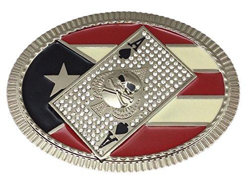 Skull Spades Card Puerto Rico Belt Buckle