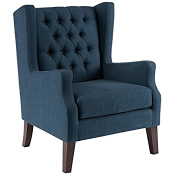 Button Tufted Wing Chair Maxwell/Navy