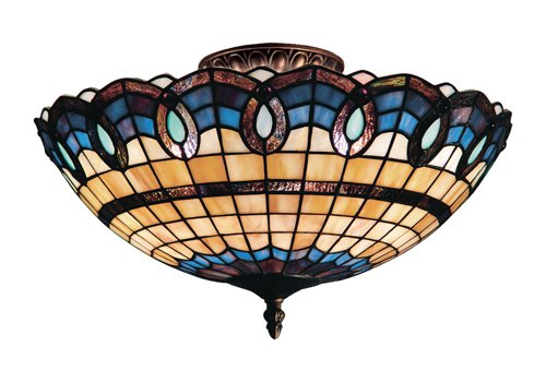 B000O6Y47A Landmark 936-CB Victorian Ribbon 3-Light Semi-Flush Mount, 8-Inch, Classic Bronze
